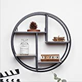 margueras 1pcs estante de pared redondo, metal, madera, 37,5x 37,5x 14cm