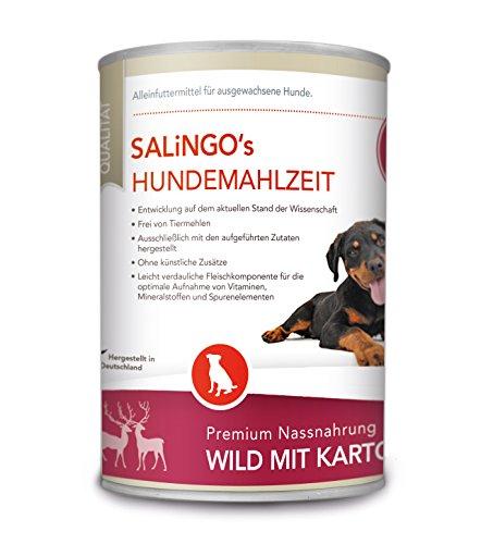 SALiNGO Hundefutter nass, Wild mit Kartoffel und Zucchini, getreidefrei (400g)