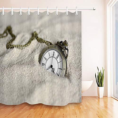Yinyinchao Badezimmerdekoration,3D-Hd-Druck Verblasst Nicht,Vintage Taschenuhr Sand,Duschvorhang Aus Polyestergewebe,12 Duschhaken,180X180 cm,Wohnaccessoires