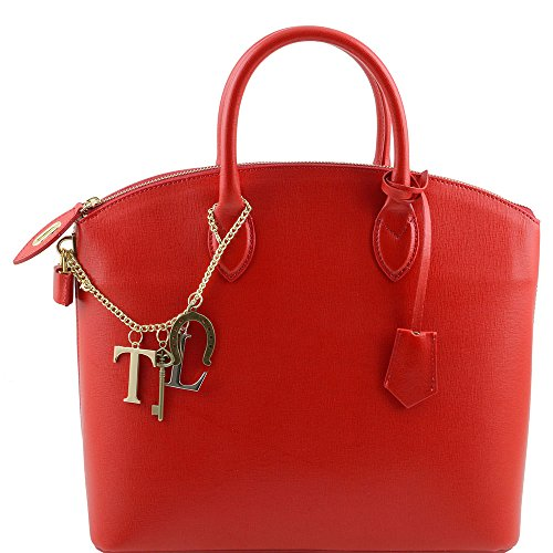 Tuscany Leather - TL KeyLuck - Sac cabas en cuir Saffiano - Rouge
