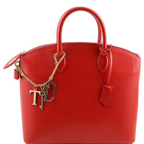 Tuscany Leather - TL KeyLuck - Sac cabas en cuir Saffiano - Rouge