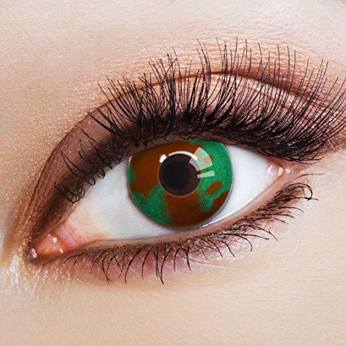 aricona Farblinsen Farbige Kontaktlinse Military Effect   – Deckende Jahreslinsen für dunkle und helle Augenfarben ohne Stärke, Farblinsen für Karneval, Fasching, Motto-Partys und Halloween (Kostüme Die Erwachsene Clown Dame)