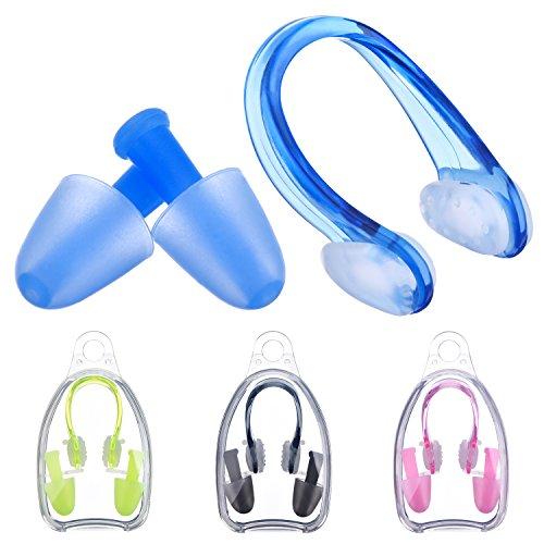 4 Packung Swimming Nase Clip Nasenklammer und Ohrstöpsel Set für Erwachsene und Kinder, 4 Farben