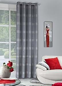 140x245 cm stahl grau silber Vorhang Vorhänge Fensterdekoration Gardine Ösenschal steel grey silver ANDREA