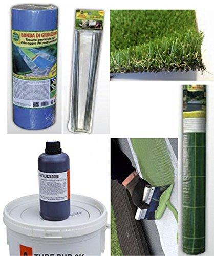 KIT PRATO artificiale 2x10 mt erba sintetica 10 kg colla + telo antierbacce + banda giunzione + picchetti