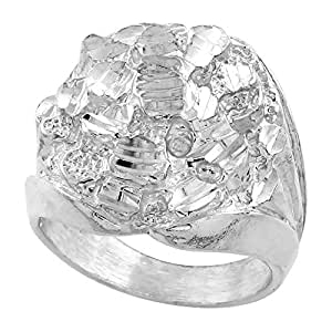 "Sterling Silver Circular Nugget Ring, 7/8"" (23mm) wide , size P"