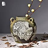 Creative ripristinando antiche vie di primitiva semplicità arte scultura vaso in ceramica salotto manuale desktop artigianato articoli di arredamento,bottiglia bassa,ciano - lpkone - amazon.it