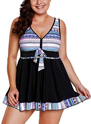 Damen Tankini Set Retro Neckholder Badeanzug Push Linie Mit A Festlich Bekleidung Up Badekleid EIN Stück S Frauen Badeanzug Mode Strand Swimsuit (Color : Bunt, Size : XL)