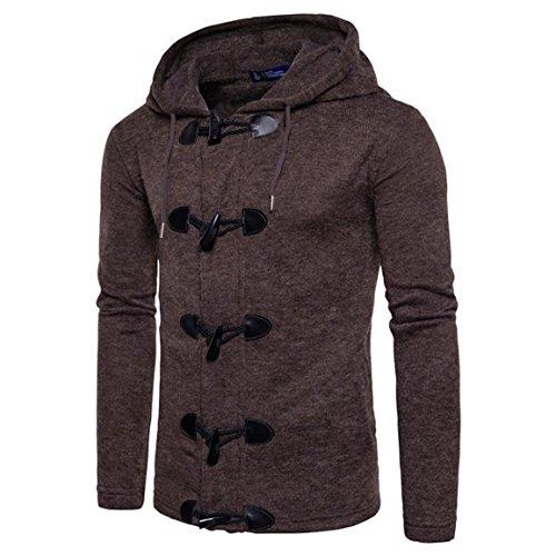 Männer Kapuzenmantel,Moonuy Herren Herbst Winter Fashion Men Cotton Slim Entworfene Kapuzenoberteil Charm Cardigan Gestrickte Solide Jacke,hoodie herren (Kaffee, EU 34 / Asien S) (Justin Damen Kaffee)