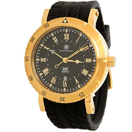 Constantin Durmont Men's Watch Strike Analogue Quartz Rubber CD String Qzgmt RB gdgd cm Black