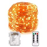 100Leds Wasserdichte LED Copper String Lights mit Fernbedienung, 10m LED Fairy String Lights Indoor und Outdoor für Weihnachten / Hochzeit / Party IP65 (warmweiß)