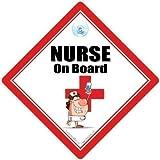 Plataforma con ruedas para cochecito de enfermera, plataforma con ruedas para cochecito de enfermera de coche Sign, con texto en inglés de enfermera, de lactancia Sign, cartel con ventosa para coche bebé, en inglés, DE COCHE señal de enfermera, RGN, de lactancia Sign, Medical Sign