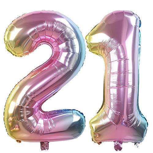 1, 32 Zoll Helium Folie Luftballon 21 Geburtstag Folienballon Geburtstag Dekoration Set Riesen Folienballon Fur Party (Regenbogen) ()