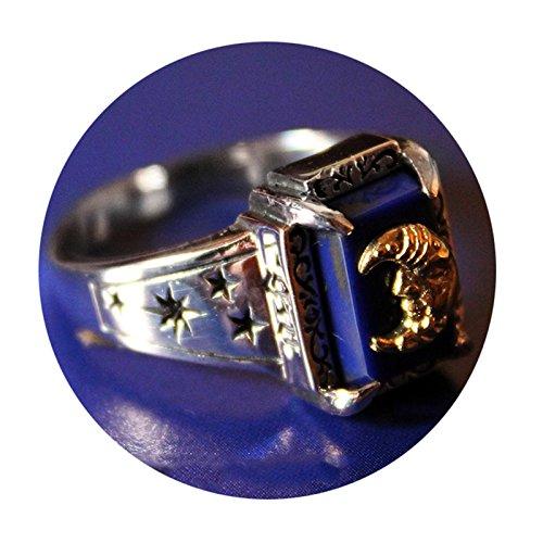 SonMo 925 Sterling Silber Ring Unisex Rechteck Lapislazuli Bicolor Mond Gott Paarringe Bicolor Herrenring Lapislazuli Silber Große:60 (19.1)
