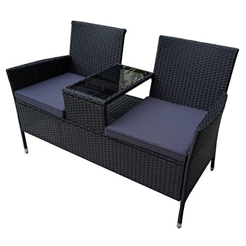 HENGMEI Gartengarnitur Polyrattan Gartenmöbel Set Lounge Sitzgarnitur Gartensofa Gartengarnitur (Schwarz, Type F mit Anthrazit Sitzkissen)
