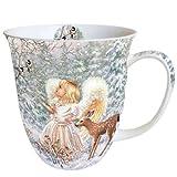 Ambiente Tasse aus feinem Porzellan, Weihnachtsmotiv mit Engel und Rentier, 0,4 l