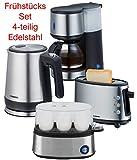 Melissa Design Edelstahl - GOOD Morning - Frühstücksset Kaffeemaschine + Wasserkocher + Eierkocher + 1-Schlitz-Toaster (SINGLE SET)