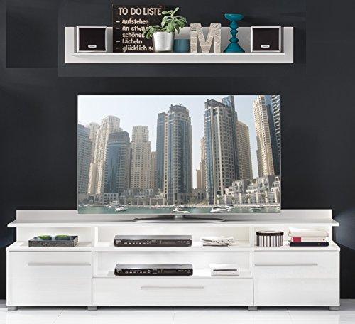 trendteam VIS32001 TV Möbel Lowboard Weiß Hochglanz + Wandboard Weiß Matt, Lowboard BxHxT 180x36x45 cm, Wandboard BxHxT 130 x 22 x 18 cm - 3