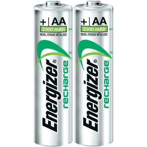 Energizer 2er Pack HR6-2300-Akku/wiederaufladbar Akku (2300mAh, Universal, Nickel-Metall-Hydrid-(NiMH), 0-50°C,-20-30°C, 0-65%) grün, silber Energizer Nickel-metal