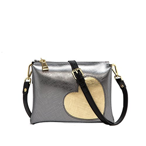 808fc7332a GUM BORSA A TRACOLLA TWO 4049 GLOSSY HEART IRON CUORE ORO - MADE IN ITALY