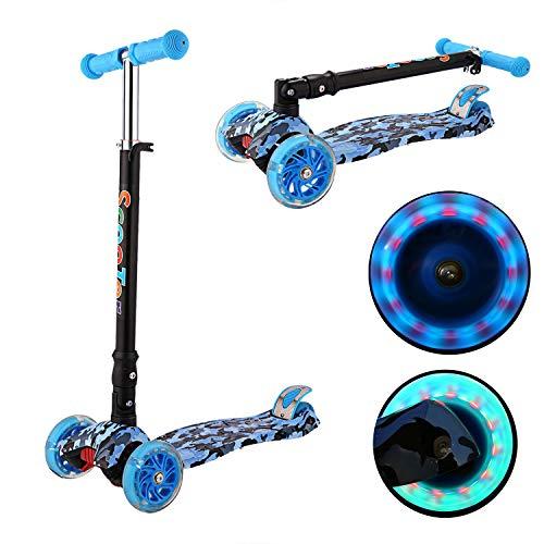Kinder Roller Scooter 3 Räder Höhenverstellbarer Kinderroller mit LED Leuchträdern Rollen und Verstellbare Lenker für Kleinkinder, Mädchen oder Jungen ab 3 Jahren (Farbe 5)