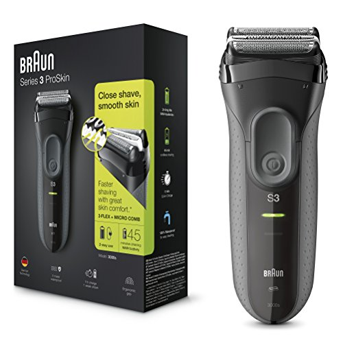 Braun Series 3 ProSkin 3000s Electric Shaver, Black, Rechargeable and Cordless Electric Razor for Men