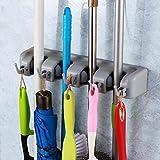 #6: Japp178 Mop and Broom Holder, Multipurpose Wall Mounted Organizer Storage Hooks, Ideal Broom Hanger for Kitchen Garden and Garage (4 Position 5 Hooks)