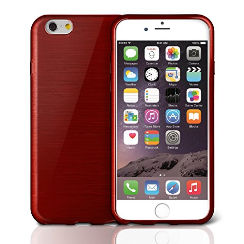 iPhone 5C Hülle Silikon Schwarz [OneFlow Brushed Back-Cover] TPU Schutzhülle Ultra-Slim Handyhülle für iPhone 5C Case Dünn Silikonhülle Rückseite Tasche CRIMSON-RED