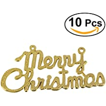 """LUOEM 10 Pack Merry Christmas Glitter Decors Christmas Holiday Sparkling Shimmering""""Merry Christmas"""" Ornaments Party Favors - Golden"""