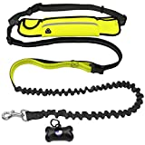 Dog Leads Yobee Hands Free Leash / Adjustable Waist Lead,with Retractable Shock Absorbing Bungee, Reflective Stitching and Canicross ,Purse Fit for 5.7' Phone-for Running,Walking,jogging ,with poo bags