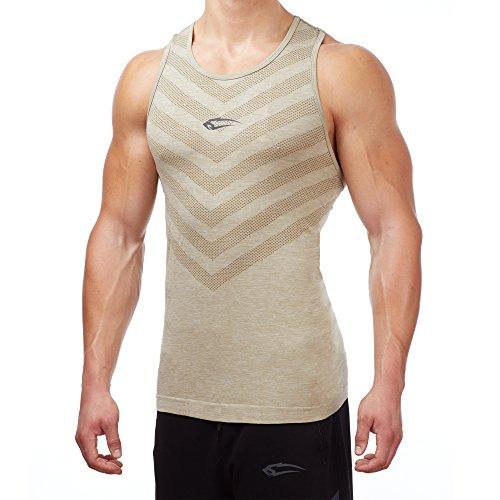 SMILODOX Tank Top Herren | Seamless - Muskelshirt mit Aufdruck für Sport Gym Fitness & Bodybuilding | Muscle Shirt - Unterhemd - Achselshirt Trainingshirt Kurzarm, Farbe:Beige, Größe:M (Basic Training Tank)