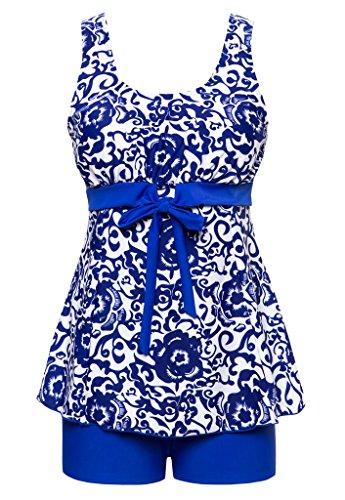 Wantdo Damen Badeanzug bauchweg Tankini mit Shorts Große Brilliant Blau (Exklusive Schöne Kostüme Dame)