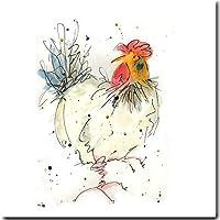 Pollo biglietto d' auguri–Rosie–gallina di compleanno, interno bianco