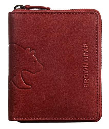 Brown Bear Geldbörse Leder Rot Hochformat für Herren & Damen Reißverschluss umlaufend Vintage RFID Schutz hochwertig Geldbeutel Männer Portemonnaie Portmonaise Portmonee Ledergeldbeutel Ledergeldbörse -