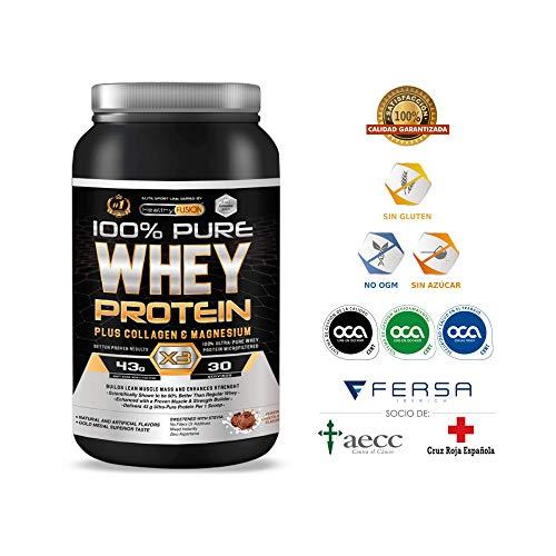 100% PURE WHEY PROTEIN X3 - Protein ISO 100% rein - Mit Kollagen + Magnesium - Baut saubere Muskelmasse auf - Hilft bei der Regenerierung von Faserstoffen - 30 Einnahmen.