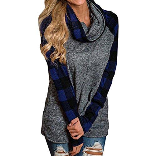 Siswong Chemise Carreaux Femme Manche Longue Cotton Décontractée Blouse Shirt Bleu