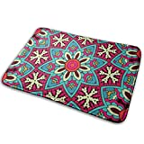 Klotr Tapis De Bain, Round Festoon Non-Slip Memory Foam Bath Mat Absorbent Super Cozy Velvet Bathroom Rug Carpet