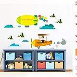 cartone animato animali città uccelli volare aereo decalcomanie della parete per bambini camere nursery home decor pvc adesivi murali fai da te murale arte decorazione
