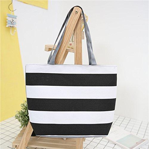 Meoaeo Neue Mode Freizeit Canvas Tasche Schultertasche Handtasche Streifen. Style one A