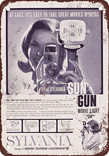 RGTG 1960 Sylvania Sun Gun Movie Light Vintage Look Reproduction Metal Tin Sign 12X18 Inches Sun Gun Light
