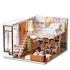 Idea Regalo - CuteBee miniatura casa delle bambole con mobili, fai da te kit di Dollhouse di legno oltre a prova di polvere e il movimento della musica