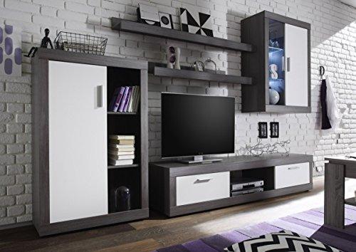 Dreams4Home Wohnkombination 'Tiziano I', Schrank Vitrine TV-Schrank Wohnwand Wohnelement Wohnzimmer Regalwand inkl. Beleuchtung Rauchsilber / weiß, Ausführung:ohne Glas-TV-Bühne - 2