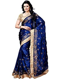 JULEE Women's Chiffon Satin Embroidered Designer Saree With Blouse....