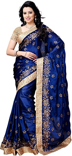 Active Feel Free Life Women'S Satin Saree With Blouse Piece (S025-Booti-Blue-Ol_Blue)