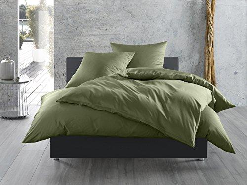 Mako-Satin Baumwollsatin Bettwäsche uni einfarbig zum Kombinieren (Bettbezug 135 cm x 200 cm, Dunkelgrün) viele Farben & Größen