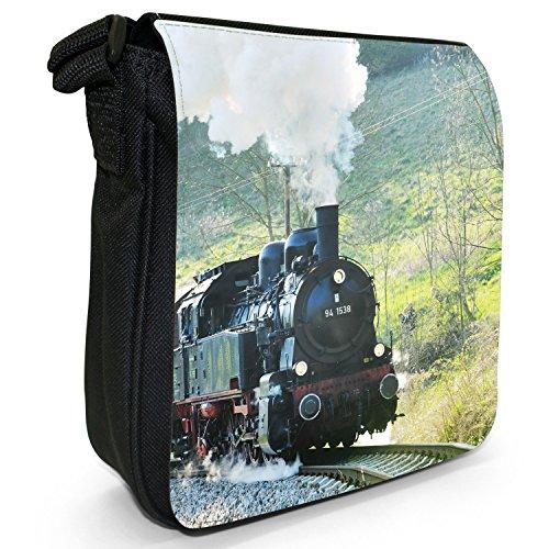 Treni a vapore-Borsa a tracolla in tela, piccola, colore: nero, taglia: S Black Steam Train