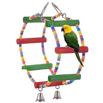 LA VIE Parrot Bird Toy Wooden Rope Cave Aviary Ladder Swings Bells 1