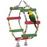 Colorful Double Ring Ständer Pet Bird Toys Papagei Ara African Greys Sittiche Nymphensittiche Sittiche Wellensittiche Bites Spielzeug FUNNY Käfig Spielzeug