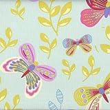 Tela mariposas 'Las mariposas multicolores' - verde menta - 100% algodón suave | ancho: 160cm (1 metro)