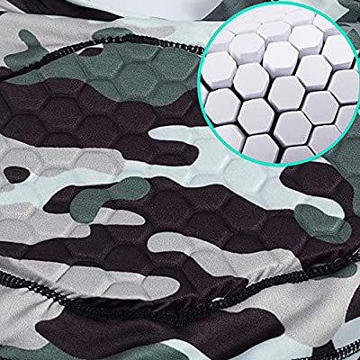 YKKHHCD Hip Protection Gear Camouflage Skinny Shorts Fußballkollisionshose Honeycomb Foot Basketball Skitrainingshose Outdoor Sports Schutzausrüstung,B,L